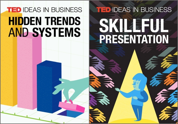 "TED Ideas in Business are playlists that bring together talks of interest to professional audiences. Here, the art for ""Hidden Trends and Systems"" and ""Skillful Presentation."""